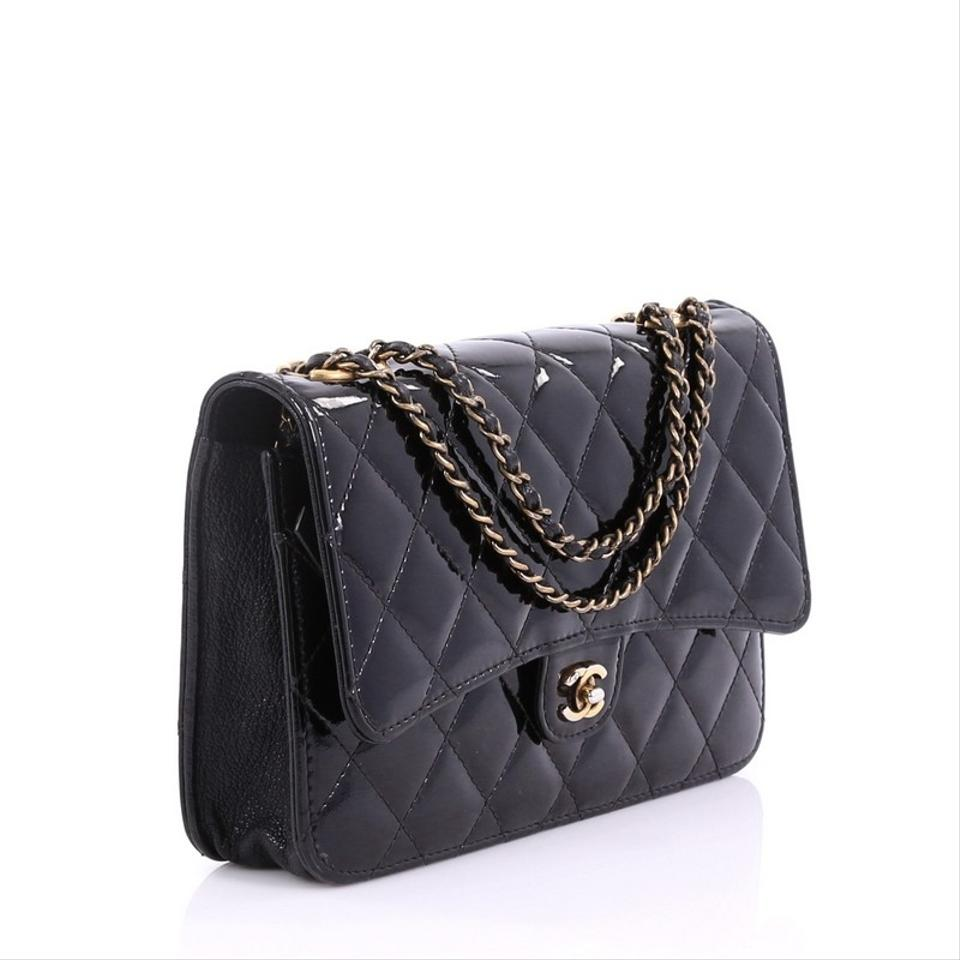 bcc38094dfca Chanel Wallet on Chain Cc Eyelet Quilted Black Patent Leather ...