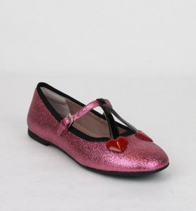 Gucci Pink W Shimmer Fabric Ballet Flats W/Hearts 32/Us .5 433120 5860 Shoes