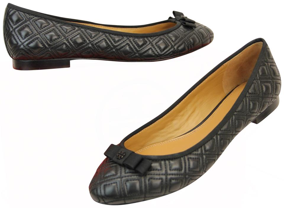 86205e8ccb0ca Tory Burch Black Marion Quilted Leather Grosgrain Bow Reva Ballet ...