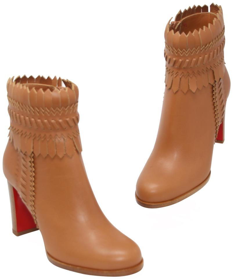 4c47d07b014 Christian Louboutin Brown Pocabootie Woven Fringe Leather Red Sole  Boots Booties