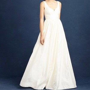 J.Crew Ivory Silk Karlie Bridal Gown Modern Wedding Dress Size 2 (XS)