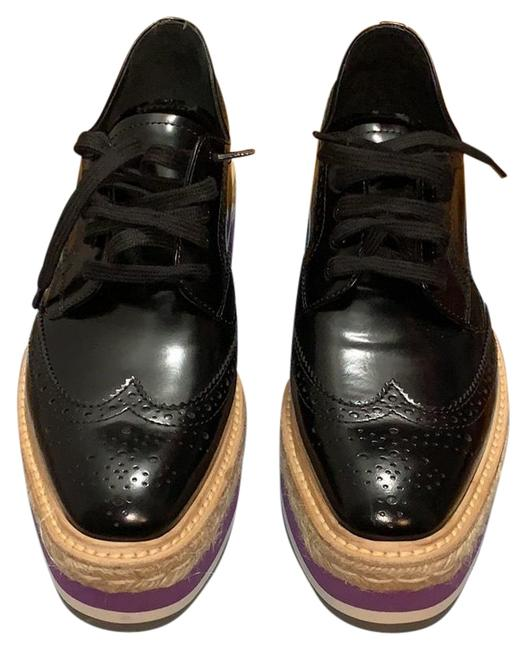 Item - Black/Purple/White Brogue Platform Flats Size US 10 Narrow (Aa, N)