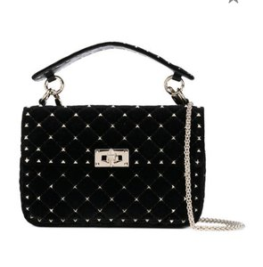 Valentino Rockstud Spike Medium Velvet Shoulder Bag