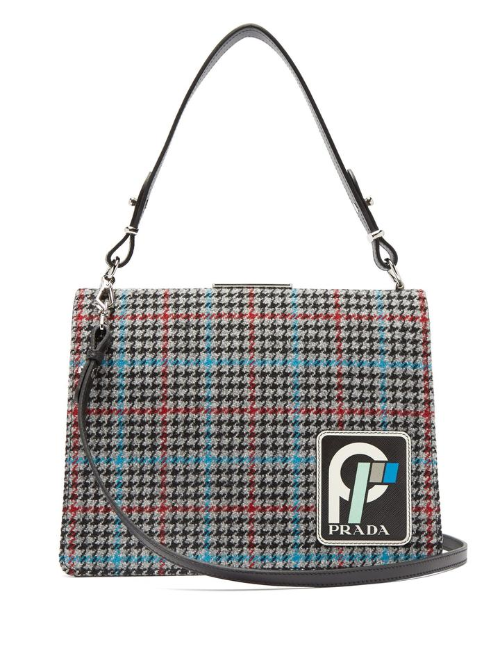 69f6fb0de9bf10 Prada Frame Logo Patch Houndstooth Grey Tweed Shoulder Bag - Tradesy