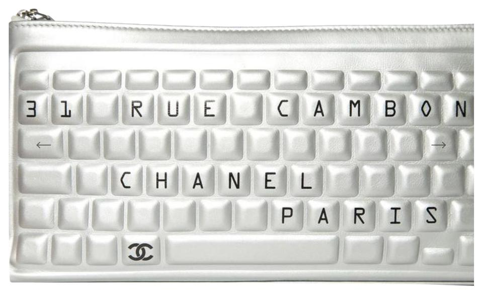 a11146d0a9bc5f Chanel Clutch Keyboard 2017 Silver Calfskin Leather Clutch - Tradesy