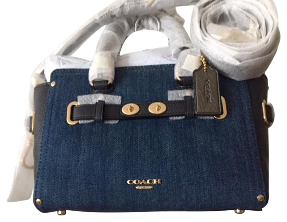 65b8738dab Coach Swagger Leathercrossbody Blue Denim and Leather Cross Body Bag ...