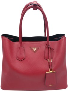 Prada Double Cuir Saffiano Leather Tote in Red