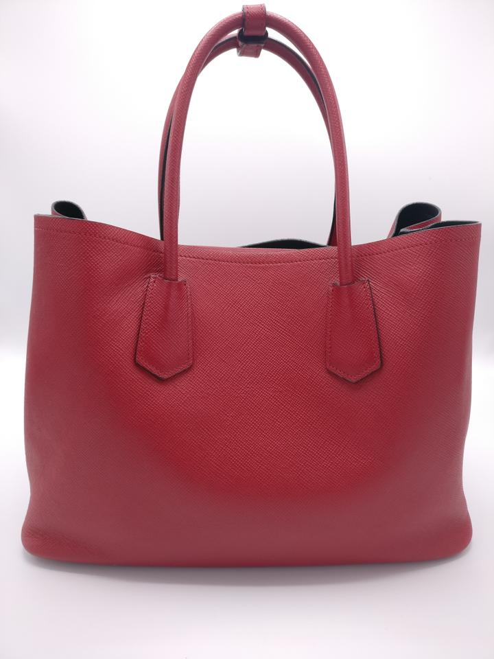 45fe4a8c69cd Prada Double Cuir Saffiano Leather Tote in Red Image 11. 123456789101112