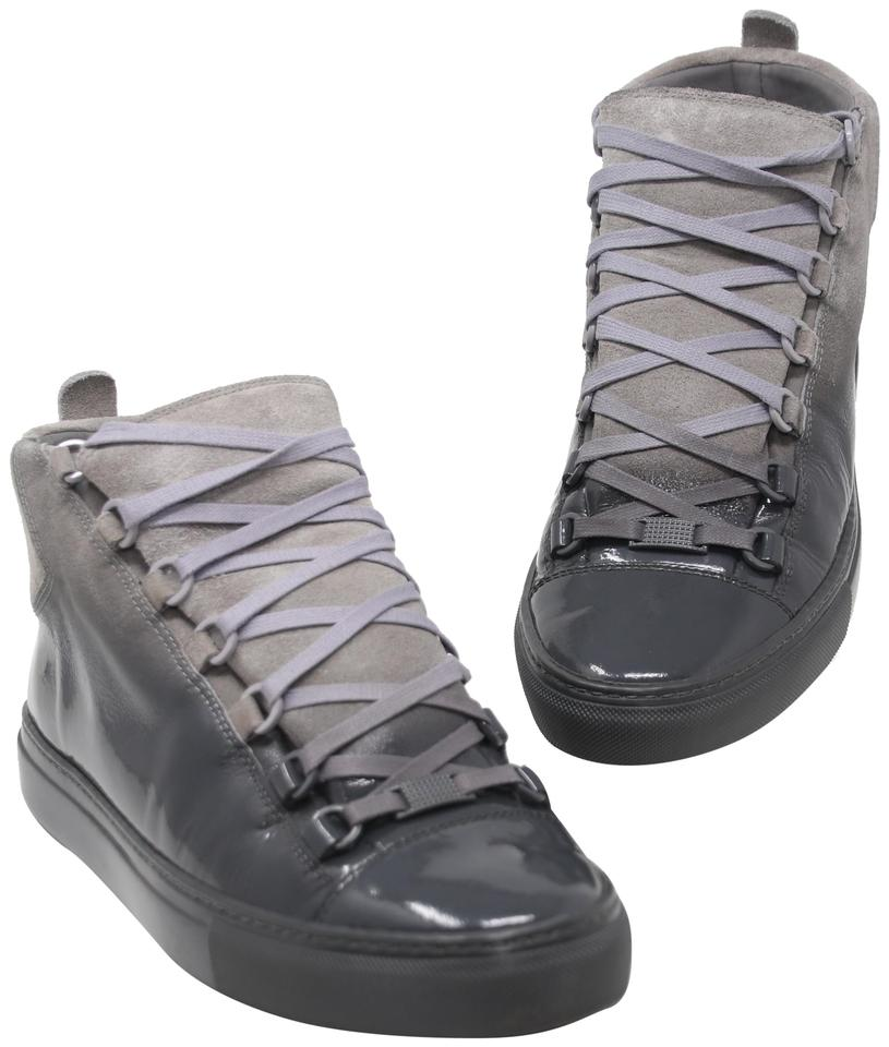 Balenciaga Grey Ombre Arena Suede Patent Leather Laced High Top Sneakers 492576fb8c08