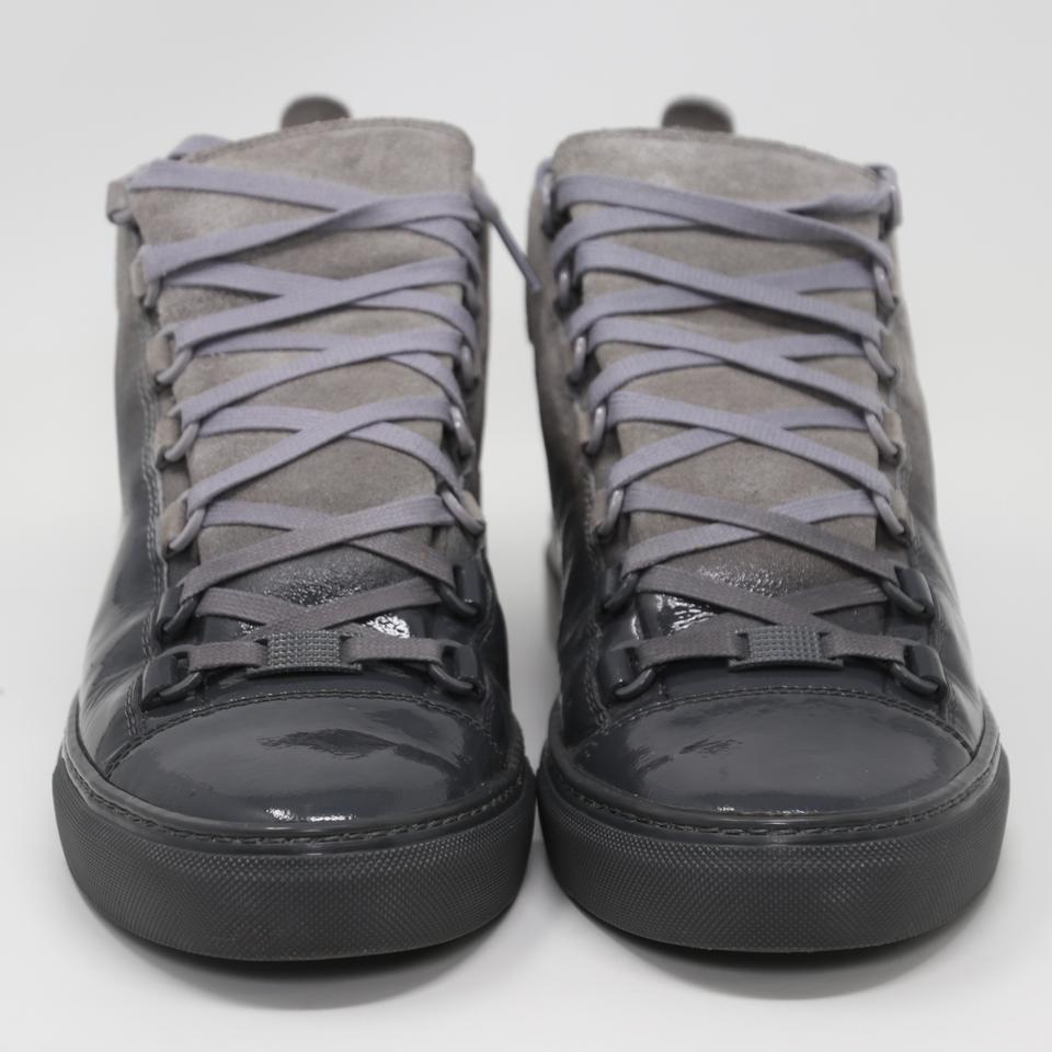 2d0c8362a0a63 Balenciaga Grey Ombre Arena Suede Patent Leather Laced High Top ...