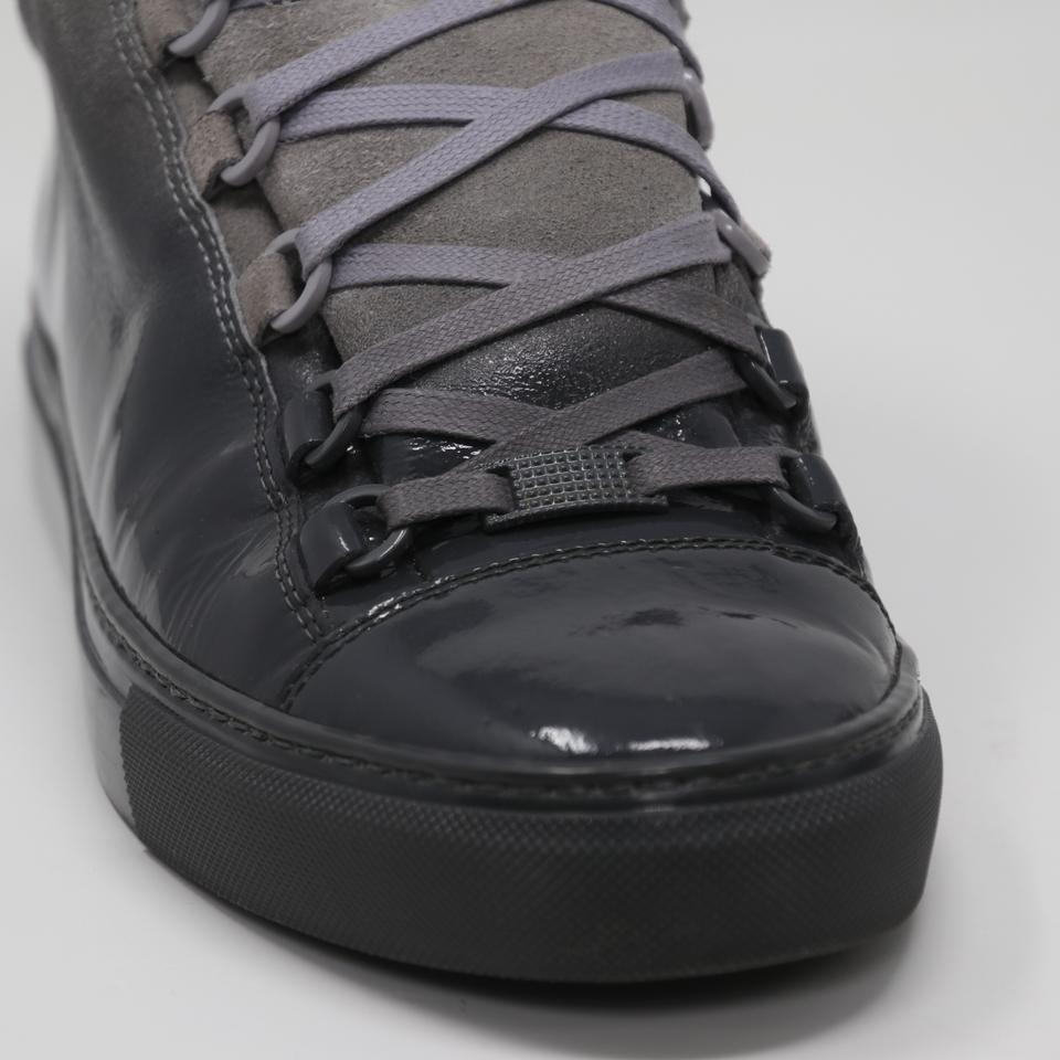 7af3dbe08cd7 Balenciaga Grey Ombre Arena Suede Patent Leather Laced High Top ...