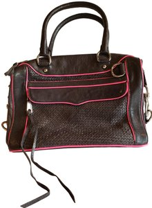 Rebecca Minkoff Leather Satchel in Black With Bright Pink Trim