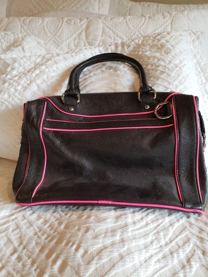Rebecca Minkoff Leather Satchel in Black With Bright Pink Trim Image 1