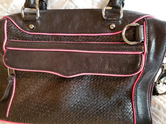Rebecca Minkoff Leather Satchel in Black With Bright Pink Trim Image 2