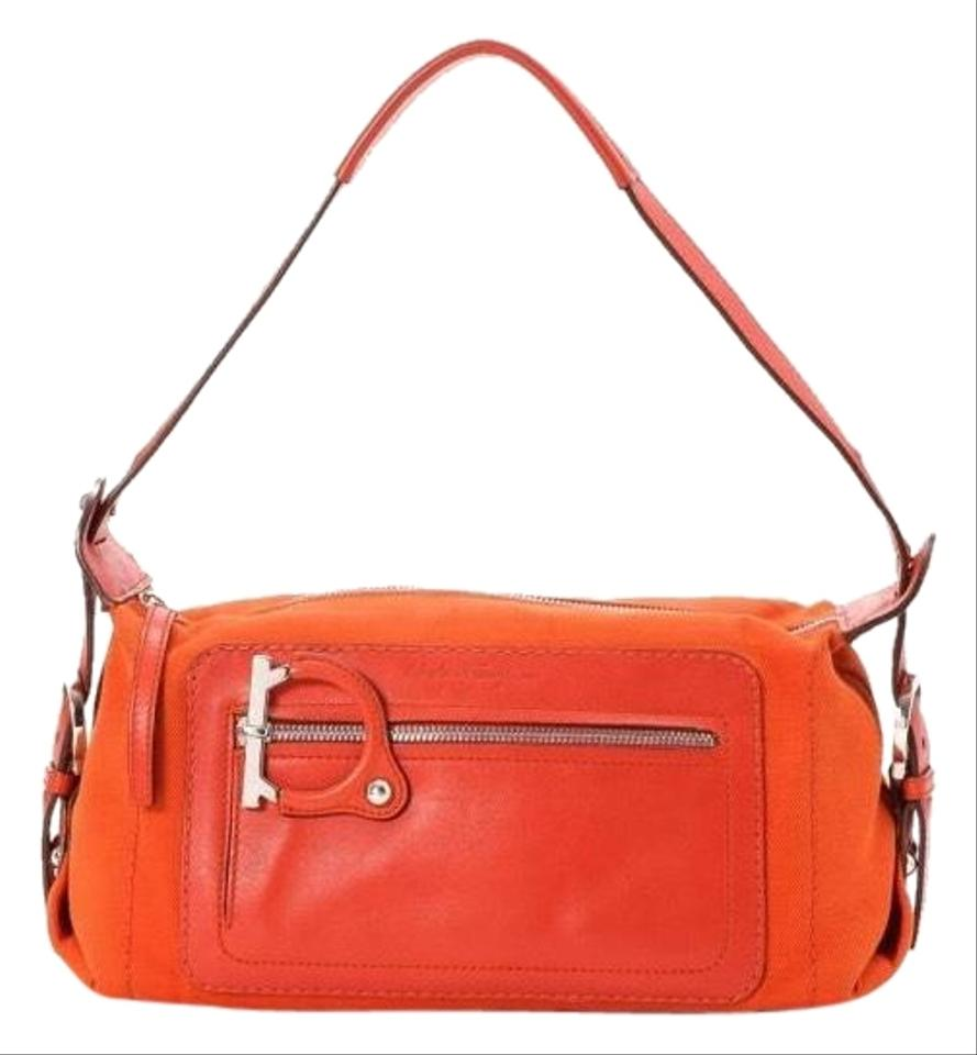 51efd8ee81e3 Salvatore Ferragamo Aq-215818 Orange Canvas Leather Shoulder Bag ...
