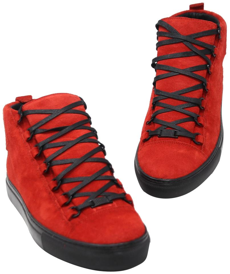 plus récent c9648 35e1a Balenciaga Red Black Arena Suede Leather Laced High Top Sneakers Size US  8.5 Regular (M, B) 24% off retail