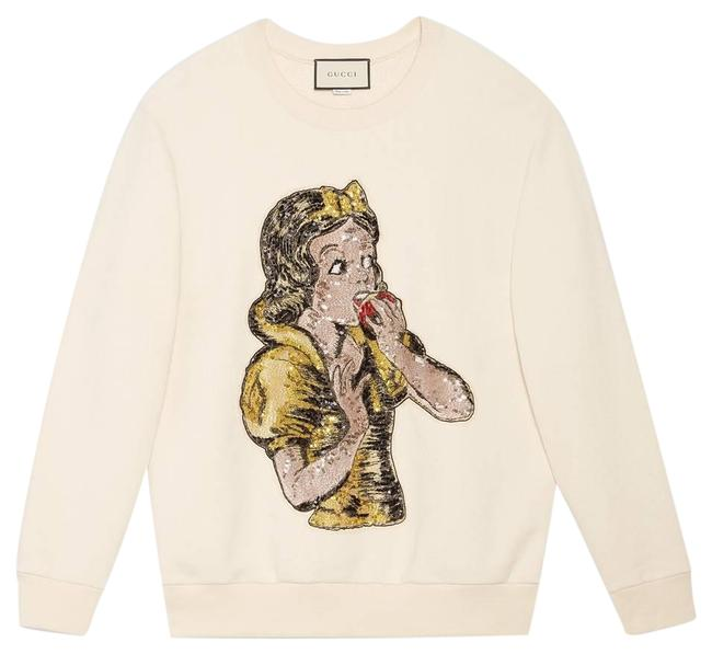 Item - White Oversize with Sequin Snow Sweatshirt/Hoodie Sweatshirt/Hoodie Size 8 (M)