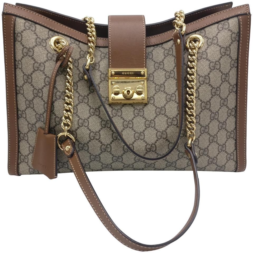 77b6619ebd7380 Gucci Bag Padlock Gg Supreme Monogram Medium Shoulder Beige Canvas ...