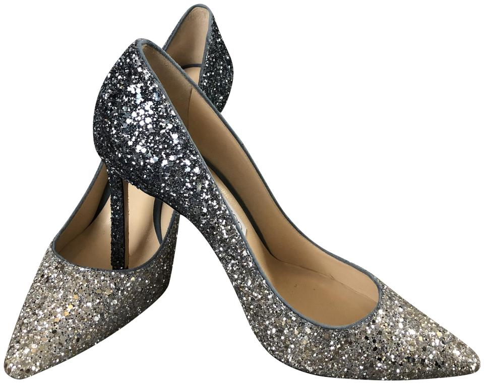 95074d09a850 Jimmy Choo  romy  glitter  silver blue  wedding Silver and Navy Pumps Image  0 ...