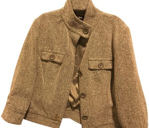 Mossimo Supply Co. Crop Like & 3/4 Sleeve Two Brown white faux tweed Jacket