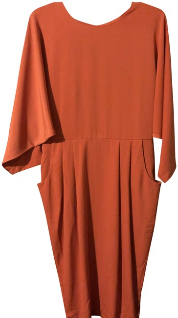 Item - Orange/Tan Mid-length Cocktail Dress Size 14 (L)