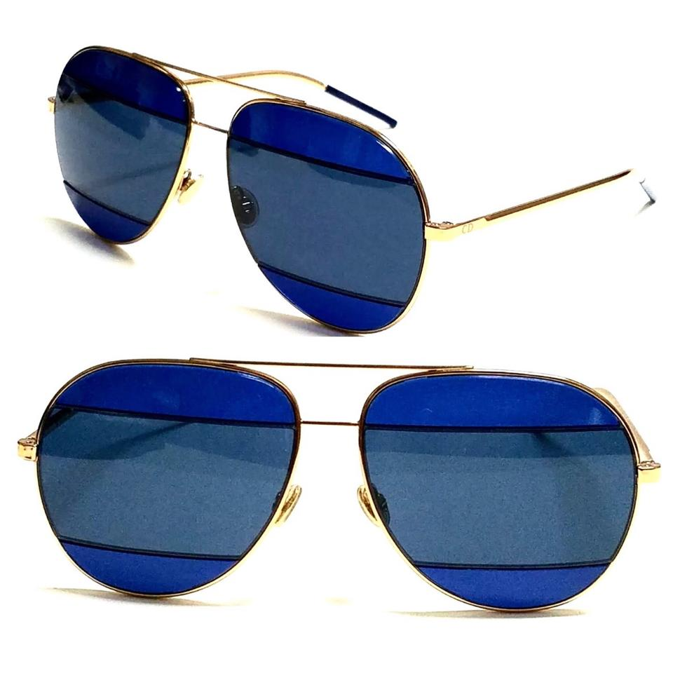 7dee585e733 Dior Blue Rose Gold Aviator Split 2 000 Ku Sunglasses - Tradesy