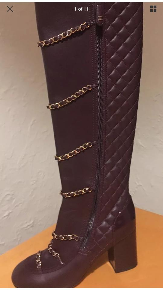 52b295747fb Chanel Dark Brown Chain Knee High Boots Booties Size EU 37 (Approx ...