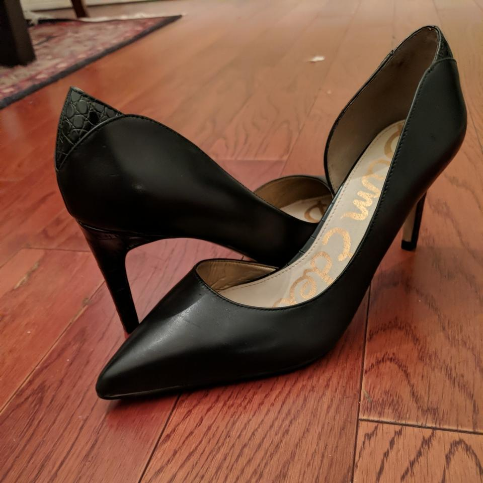 bc53e9881065 Sam Edelman Black Leather  onyx  Half D orsay Pointy Toe Pumps Size ...
