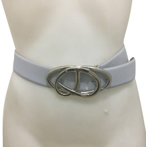 Tod's TOD'S Silver-toned Twisted Buckle Gray Leather Belt Sz 75
