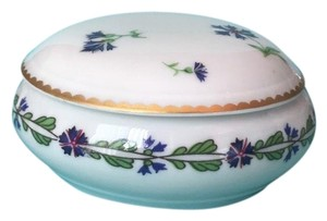 Tiffany & Co. Limoges France Villandry Porcelain Round Floral Trinket / Jewelry Box