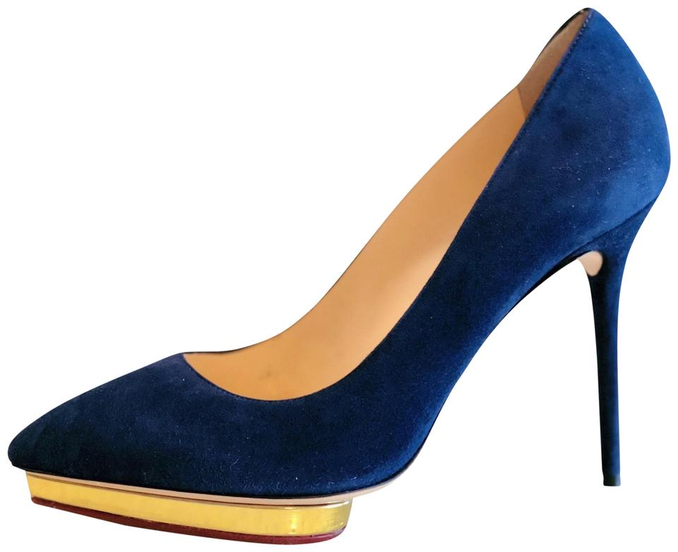 Charlotte Olympia Blue Navy Suede Gold Debbie Heels 40.4 10 Platforms d25a4a0c2