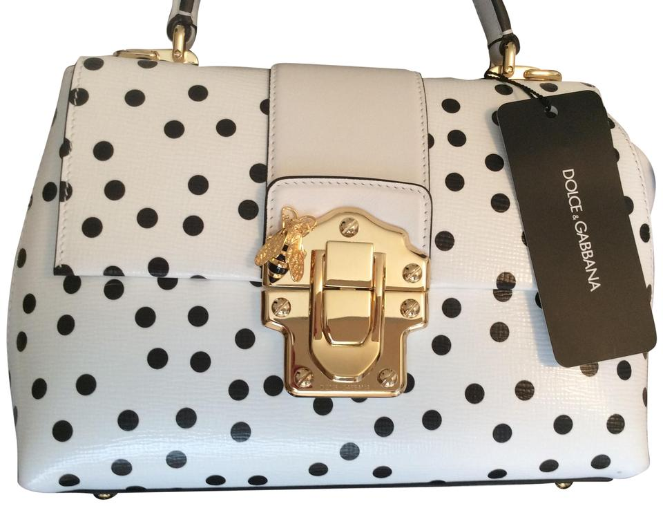 a3dcf6a4ce Dolce Gabbana Leather Polka Dot Gold-tone Hardware New Satchel in White    Black Image 0 ...