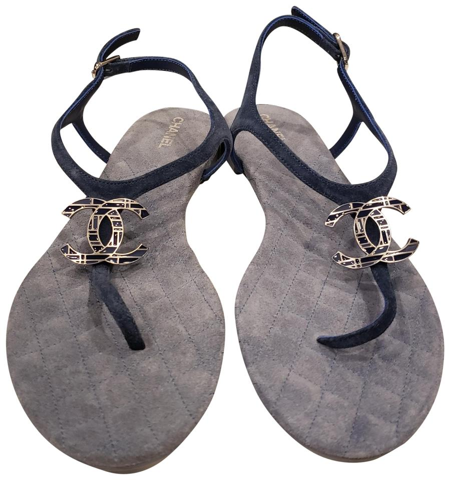 a0ff634eacc4 Chanel Blue 18p Cc Suede Thong T Strap Quilted Flat Sandals Size EU ...