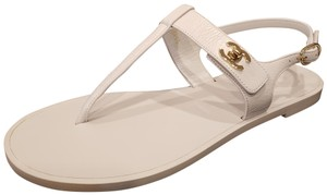 Chanel Cc Thong T Strap Turnlock Ankle Strap White Sandals