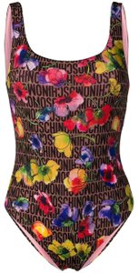 Moschino Pink multicolor Moschino floral print swimsuit