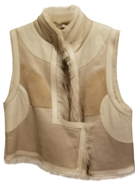 Item - Beige and Off White Shearling Leather Vest Size 10 (M)