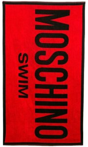 Moschino Black red multicolor Moschino logo letters beach towel