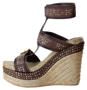 Alexander McQueen Studded Leather Ankle Espadrille Wedge Brown Sandals