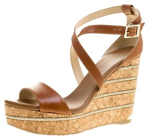 Jimmy Choo Leather Wedge Brown Sandals