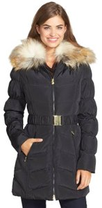 Laundry by Shelli Segal Faux Fur Hooded Belted Puffer Down Coat