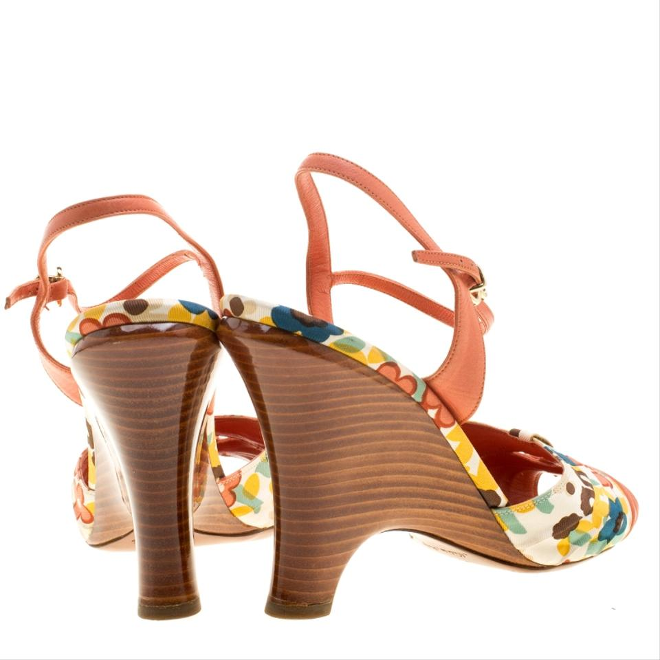 9eff8265da277 Louis Vuitton Orange Motif Printed Fabric and Leather Ankle Strap ...