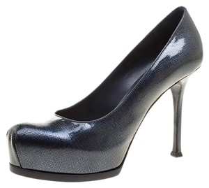 Saint Laurent Textured Leather Patent Leather Pump Dark Blue Platforms