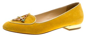 Charlotte Olympia Suede Yellow Flats
