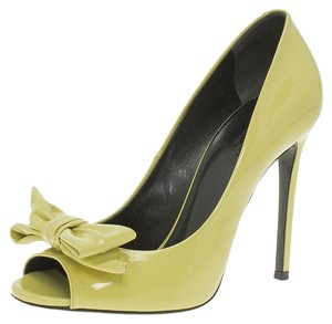 Gucci Peep Toe Leather Yellow Pumps