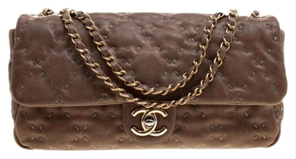 0b37fbcd51bb Chanel Classic Flap Quilted Wild Stitch Caviar Taupe Leather ...