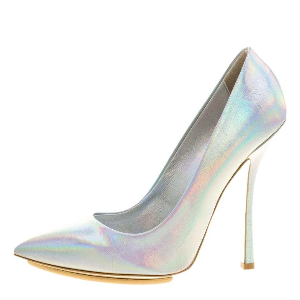 3e082cddcee Stella McCartney Metallic Silver Holographic Faux Leather Pointed ...