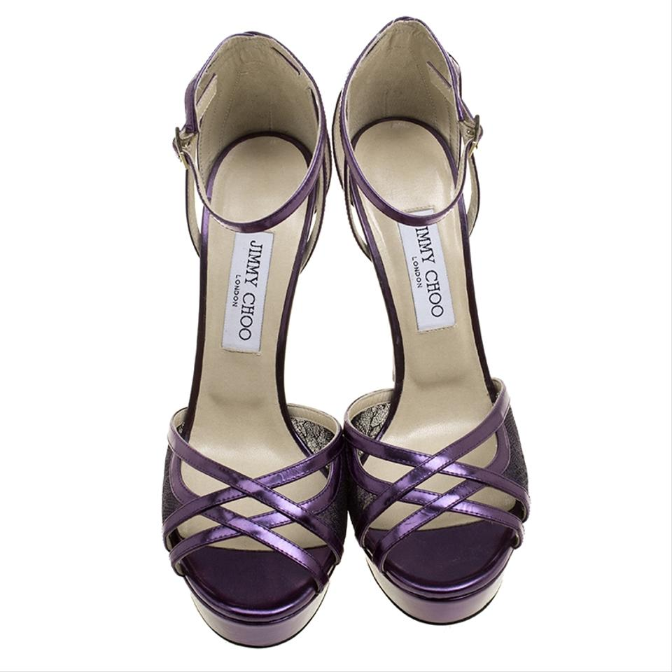 40211e076e86 Jimmy Choo Purple Leather and Lace Laurita Platform Ankle Strap Sandals  Formal Shoes Size EU 40 (Approx. US 10) Regular (M