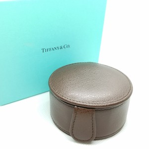 Tiffany & Co. Retired brown leather jewerly round case