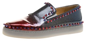 Christian Louboutin Glitter Patent Leather Spike Leather Ombre Flats