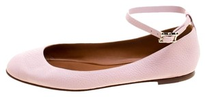 Valentino Leather Ankle Strap Pink Flats